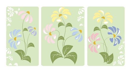 Three bush blooming flowers on a green background Vector