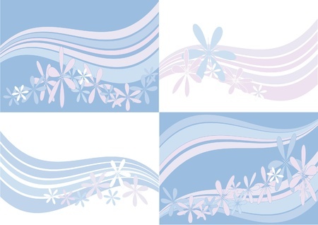 pastel backgrounds: Several pastel backgrounds with stripes and flowers