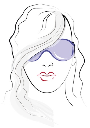 Outline sketch of a girl in a purple sunglasses Stock Vector - 9820067
