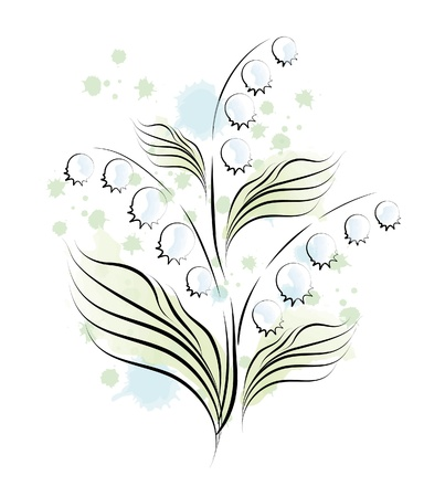 grass line: lily of the valley. sketch Illustration