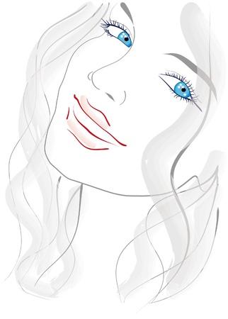 blonde blue eyes: Portrait of a blue-eyed girl
