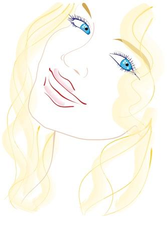 blue eyes girl: Portrait of a blue-eyed blonde