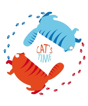 Cat's time. Day and night the cat. Stock Vector - 10412790
