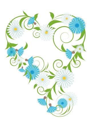 elegant vignette of wild flowers and leaves Vector