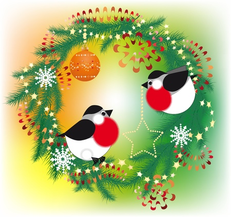 Decorate a Christmas wreath bullfinch Vector