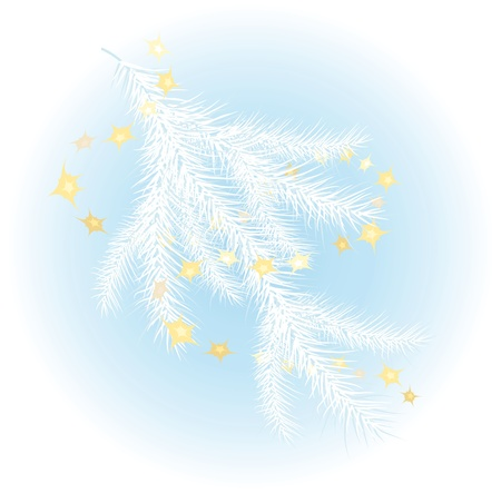 snowcovered: Snow-covered Christmas tree branch against a blue background Illustration