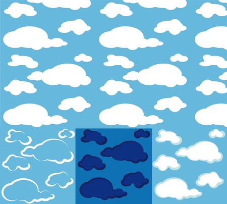 different ways: Clouds. seamless background in several different ways