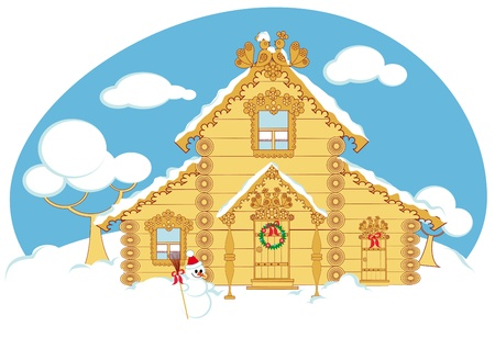 Winter cottage is decorated for Christmas Vector