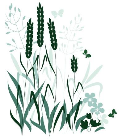 wild grass: hierbas silvestres y una mariposa en colores azul y verde