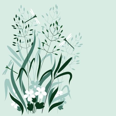 wild grass: hierba salvaje y lib�lulas en los colores azul y verde Vectores