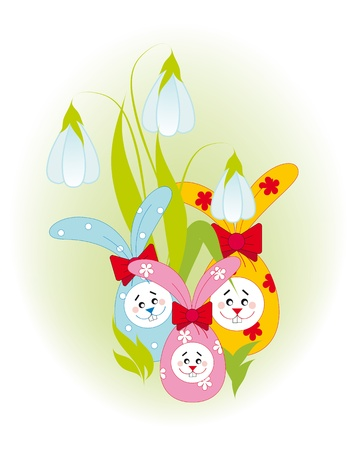 Easter card with a pretty funny bunnies and flowers Vector