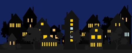 suburbs: Night street in the suburbs or the countryside.