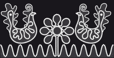 Lace pattern with birds and flowers Vector