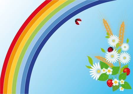 Rainbow, flowers, strawberries and ears Vector