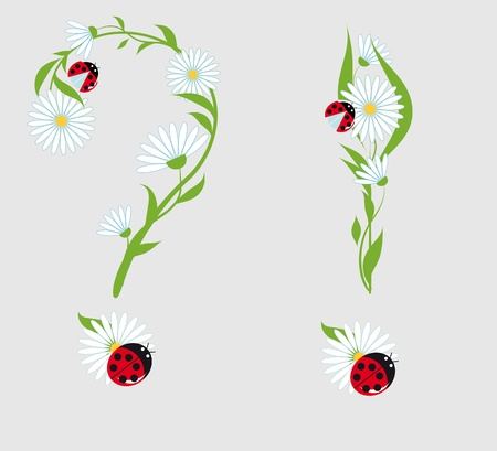 question mark and exclamation point of the chamomile flowers and ladybugs Vector