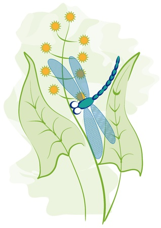 Dragonfly whirls around the plants Vector
