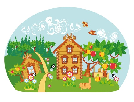 wooden houses: An idyllic rural landscape. Wooden houses, apple trees, well, blooming flowers and birds and butterflies.