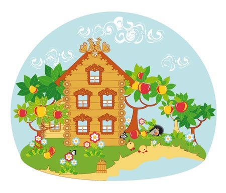 An idyllic rural landscape. Wooden houses, apple trees, well, blooming flowers and birds and butterflies.