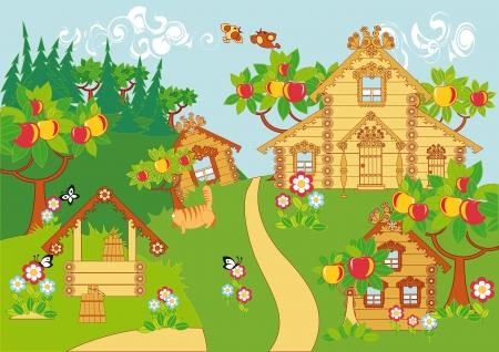 Un paysage rural idyllique. Maisons en bois, pommiers, ainsi, les fleurs fleurissent et les oiseaux et les papillons.