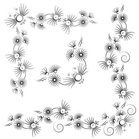 curve line: floral design with flowers and insects Illustration