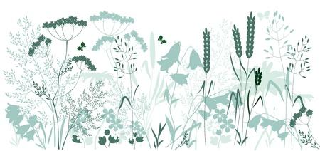 silvestres: hierbas silvestres y una mariposa en colores azul y verde