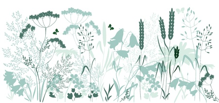 wild grasses and a butterfly in blue and green colors Vector