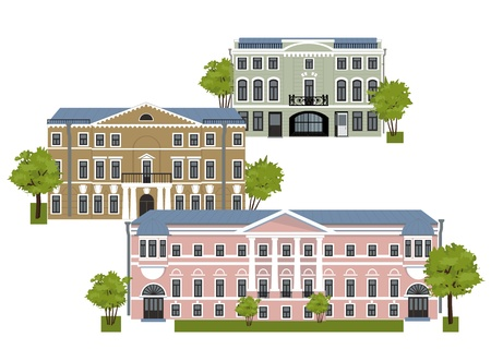 tranquil scene on urban scene: houses in the old city on a white background Illustration