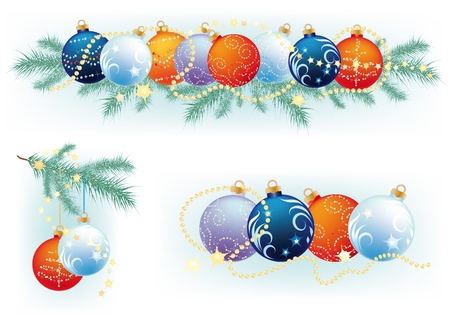 Christmas wreath with fir branches with balls and a few songs with Christmas balls Vector