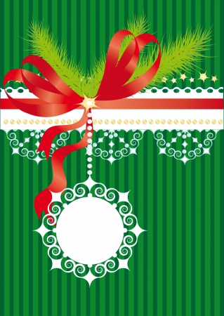 Green christmas background with bow, fir branches and snowflakes Vector
