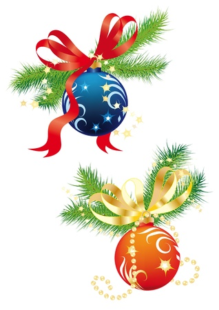 glitter ball: Christmas composition with balls and fir branches on a white background Illustration