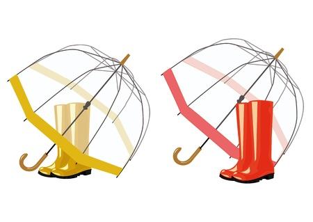 parapluie ouvert et des bottes en caoutchouc sur un fond blanc