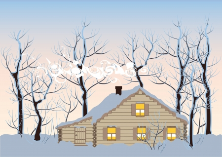 nordic: houten hut in een besneeuwd winterbos Stock Illustratie