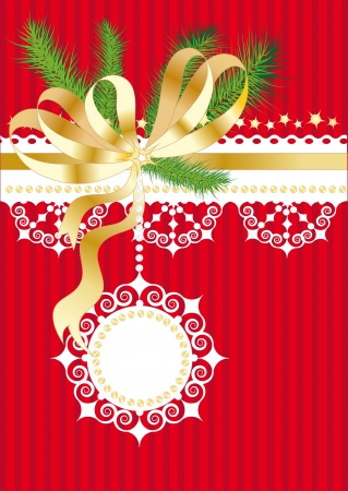Red christmas background with bow, fir branches and snowflakes Vector