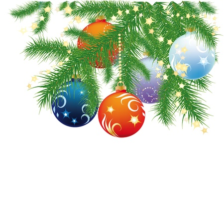 fir branches, Christmas balls and garland on white background Vector