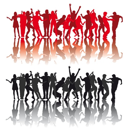 silhouettes of people dancing modern dances Vector