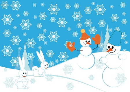 wintry: Blue christmas background with snowman and hares Illustration