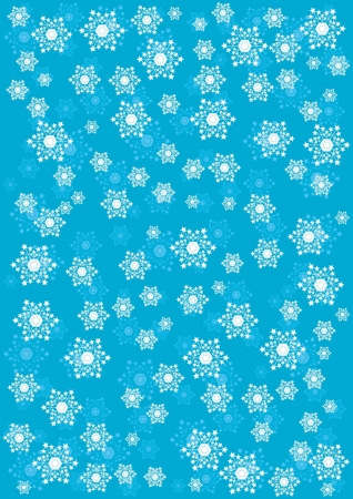 wintry: Blue winter background with falling snowflakes Illustration