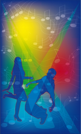 Young couple dancing at a party at the fiery music Vector