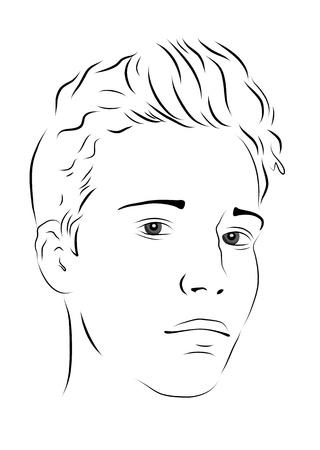 人間の髪の毛: スケッチ。若い男の肖像