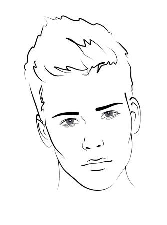 viso uomo: Sketch. Ritratto di un uomo bello. Vettoriali