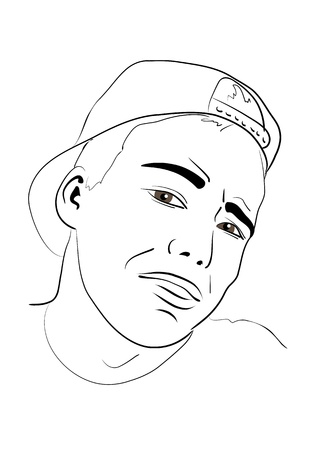 backwards: Portret van een jonge man in een baseball cap, het dragen van achteren. schets