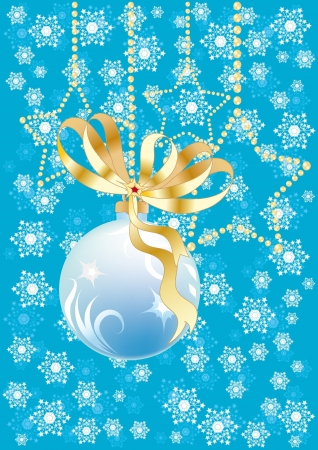 blue christmas background with snowflakes, stars and ball Vector