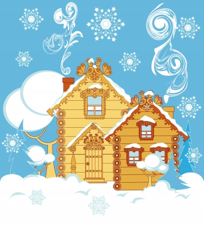 Wooden houses and trees in the snow Vector