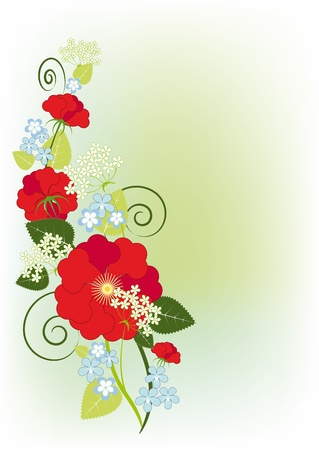 Pastelnfy background with the composition of roses and violets Illustration