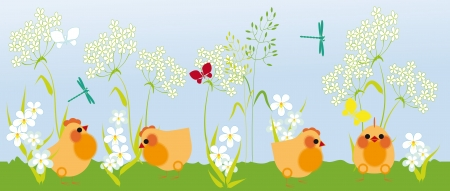 chickens walk in the grass among flowers and butterflies Stock Vector - 17111996