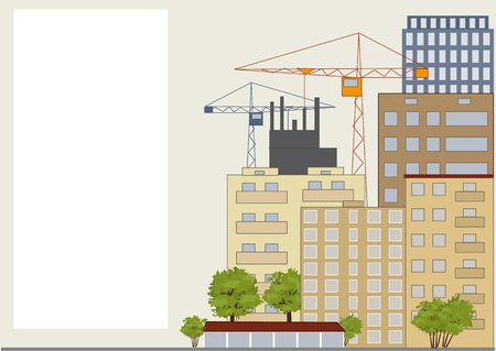The urban landscape. Tall buildings, trees, building. Stock Vector - 17442320