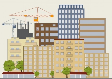 The urban landscape. Tall buildings, trees, building. Vector
