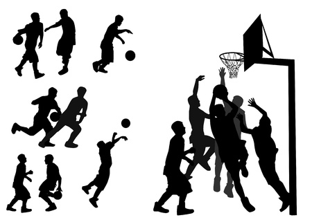 silhouettes of people playing basketball