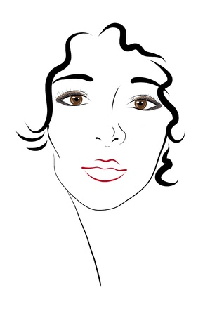 portrait of a beautiful, brown-eyed young woman. sketch