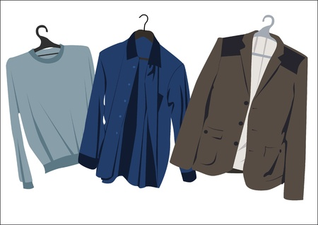 mens clothing: classic mens clothing on hangers Illustration